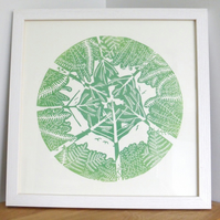 ORIGINAL lino print - 'Up through the trees III'