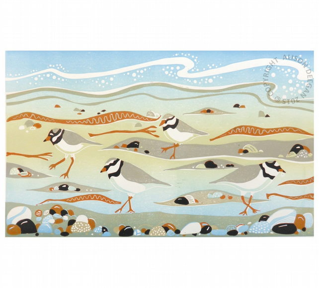 Ringed Plovers at New England Bay - SEA BIRD SEAWEED BEACH LINO PRINT