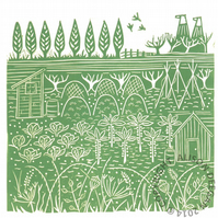 ORIGINAL lino print - 'Down the allotments IV'