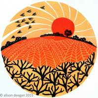 Hedge, fields and birds - LINO PRINT AUTUMN SUNSET LANDSCAPE