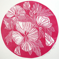 Original lino cut print HIBISCUS IN RUBY flowers blooms wall art