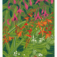 Original lino cut print KERRY HEDGEROW flowers blooms wall art