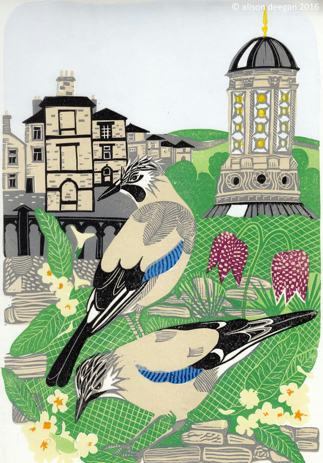 Original lino cut print TWO JAYS birds saltaire fritillary