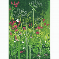 Flamborough Hedgerow - LINO PRINT VERGE FLOWER CAMPION