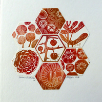 Autumn Patchwork IV  LINO PRINT BERRY SLOE POPPY WOOD TEASEL