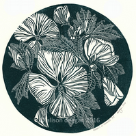 Original lino cut print HIBISCUS IN EMERALD flowers blooms wall art