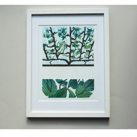 Original lino cut print GLASSHOUSE AT CLUMBER PARK II