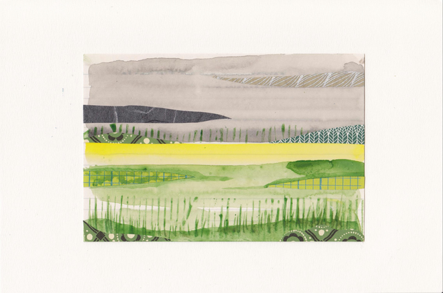 The Rapeseed Field No. 2 - watercolour with collage
