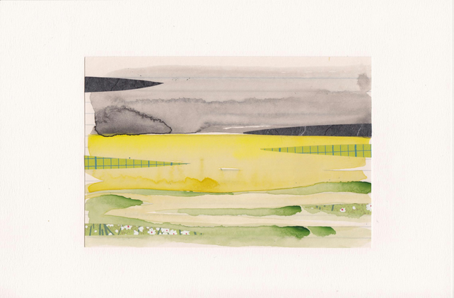 The Rapeseed Field No. 1 - watercolour with collage