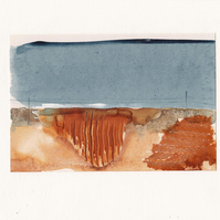 The Potato Field No. 1 - watercolour with collage