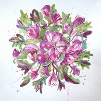 Hibiscus tea - FLORAL FLOWER COLLAGE LINO PRINT PINK