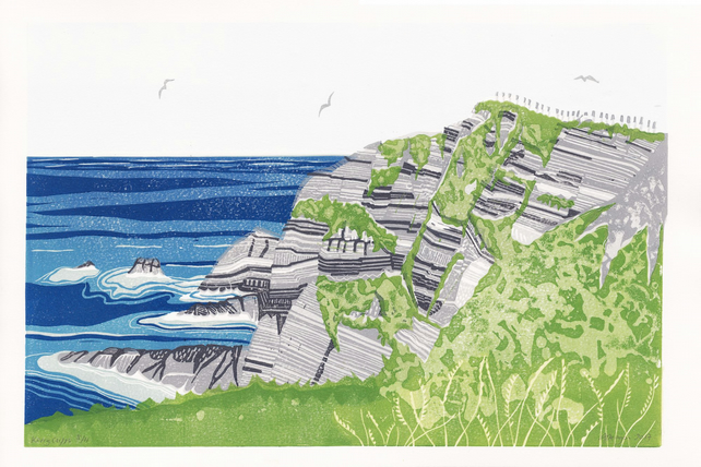 Kerry Cliffs LINO PRINT IRELAND COAST LANDSCAPE