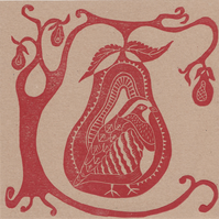 X3 HANDPRINTED CHRISTMAS CARDS - Partridge in a pear tree - red