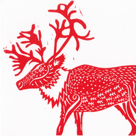 X3 HANDPRINTED CHRISTMAS CARDS - Caribou - red