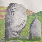 She had seen all this before LINO PRINT STANDING STONE ARCHAEOLOGY MEGALITH
