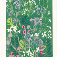 Original lino cut print WILDFLOWER FIELD wild flowers meadow blooms wall art