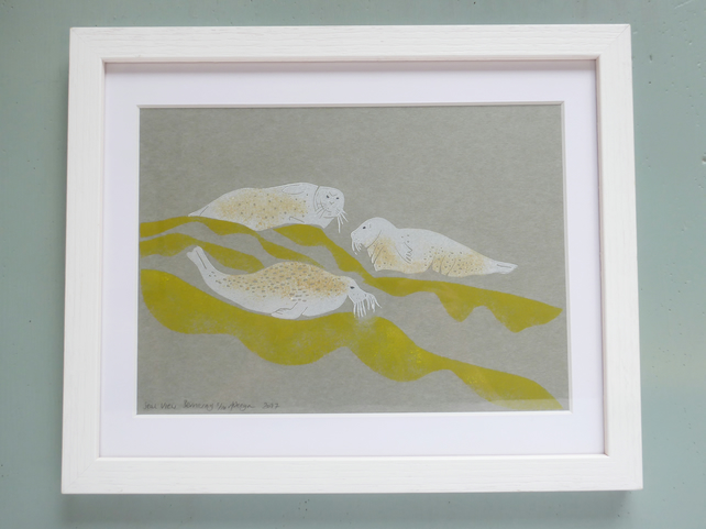 ORIGINAL lino print - ' SEAL VIEW, BERNERAY'