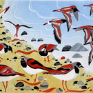 Turnstones LINO PRINT BIRD BEACH HEBRIDES SHORE SEA