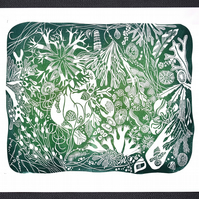 Original lino cut print NEW ENGLAND BAY ROCKPOOL shell beach seaweed