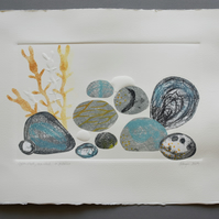 ORIGINAL monoprint and collage -  Oystershell, seaweed and pebbles