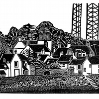 Original lino cut print CROMARTY beach  fishing village