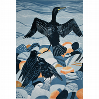 LINO PRINT - CROWS CORMORANT BEACH SEA