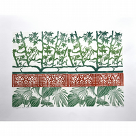 Vines, grills and perfoliates - collage lino print
