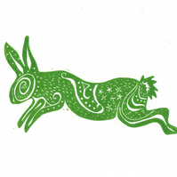 "Original lino cut print ""Spiral Rabbit Green"""