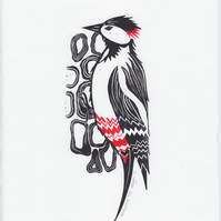 "Original lino cut print ""Woodpecker"""