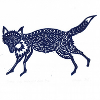 "Original lino cut print ""Garden Fox in Midnight Blue"""