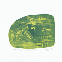 "Original etched lino print ""Passed the gatehouse and around"""