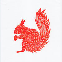 "Original lino cut print ""Red Squirrel"""