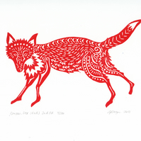 "Original lino cut print ""Garden Fox (red)"""