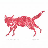 "Original lino cut print ""Garden Fox in Pink"""
