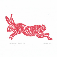"Original lino cut print ""Spiral Rabbit in Pink"""