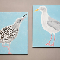 Two Herring Gulls - Original acrylic painting