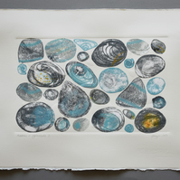 ORIGINAL monoprint and collage -  'Pebbles and Oystershells I'