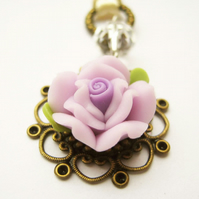 Purple rose Czech glass charm - Adelaide