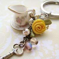 Porcelain jug Czech glass and yellow rose keyring - Morning Sunlight