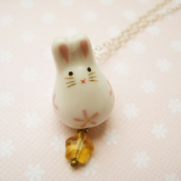 Porcelain rabbit glass star necklace - Bunny Wishes in pink