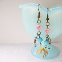 Turquoise bead rose and brass bird dangle earrings - Fly Home