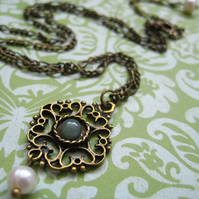 LAST ONE - Brass filigree aventurine stone freshwater pearl necklace - Isabella