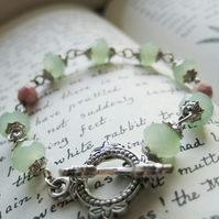 Pastel green Czech glass silver bracelet - Apple Blush