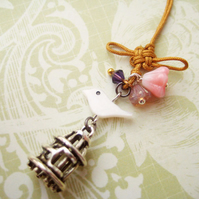 Shell bird Czech glass flowers Chinese knot phone charm - Palace Garden