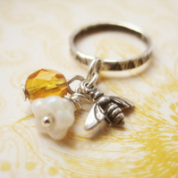 Sterling silver bee Czech glass charm ring - Honey Bee