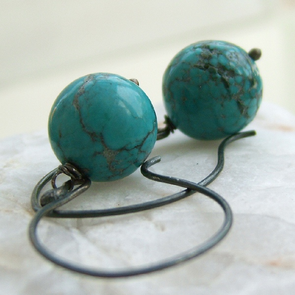 Turquoise Earrings, Natural, Round, Handcrafted Black Silver Earhooks
