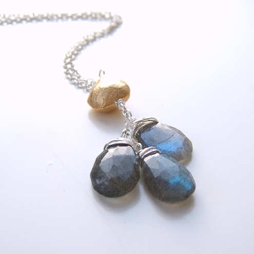 Golden Nugget Fiery Blue Flash Labradorite Faceted Briolettes Necklace