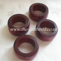 PRICED TO CLEAR! ........ SET OF FOUR PURPLE HEART wooden NAPKIN SERVIETTE RINGS