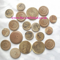 Hand Crafted 20 WOODEN BUTTONS (2 and 3 holes) - Mixed Sizes and Woods