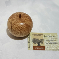 GoRgEoUs SPALTED BEECH (wood) LIFESIZE APPLE ORNAMENT complete with stalk